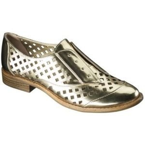 Sam Libby Justine Perforated Gold Metallic Loafers